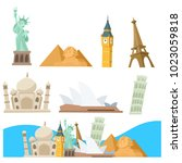 landmark of the world set | Shutterstock .eps vector #1023059818