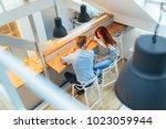 beautiful couple talking in...   Shutterstock . vector #1023059944