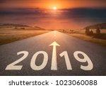 driving on idyllic open road...   Shutterstock . vector #1023060088