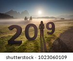2019 new year concept with... | Shutterstock . vector #1023060109