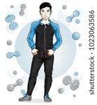 handsome brunet young man poses ... | Shutterstock .eps vector #1023063586