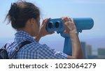tourist looking through... | Shutterstock . vector #1023064279