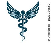 caduceus symbol made using bird ... | Shutterstock .eps vector #1023064660