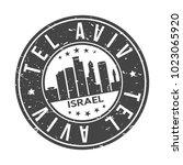tel aviv israel round stamp...