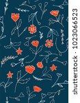 blue seamless flower pattern | Shutterstock .eps vector #1023066523