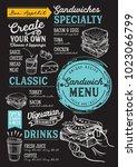 sandwich restaurant menu....   Shutterstock .eps vector #1023066799