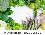 assorted green vegetables food... | Shutterstock . vector #1023066838