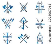 vintage weapon emblems set.... | Shutterstock .eps vector #1023067063