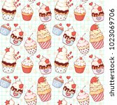 a seamless pattern with a set... | Shutterstock .eps vector #1023069706