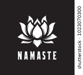 namaste sign. hello in hindi.... | Shutterstock .eps vector #1023070300
