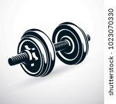 dumbbell vector illustration... | Shutterstock .eps vector #1023070330
