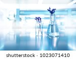 purple flower with glass flask... | Shutterstock . vector #1023071410