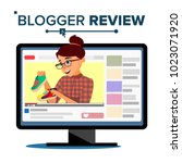 blogger review concept vetor.... | Shutterstock .eps vector #1023071920