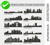 world safest cities skyline... | Shutterstock .eps vector #1023076330