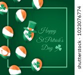 happy st patrick's day card... | Shutterstock .eps vector #1023076774