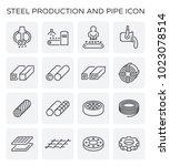 vector line icon of steel... | Shutterstock .eps vector #1023078514