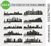 top cities of teh world 2018... | Shutterstock .eps vector #1023079030