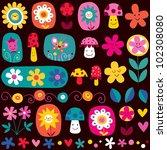 cute flowers pattern - stock photo