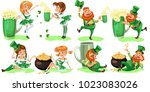 saint patrick day characters ... | Shutterstock .eps vector #1023083026