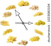 italian pasta clock on white...   Shutterstock . vector #1023083104