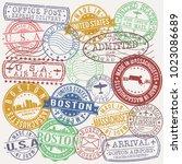 boston massachusetts usa stamp... | Shutterstock .eps vector #1023086689