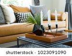 Brown Leather Sofa Near A...