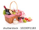 wicker basket with picnic | Shutterstock . vector #1023091183