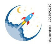 start up of the space rocket.... | Shutterstock .eps vector #1023092260