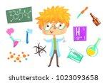boy chemist  kids future dream... | Shutterstock .eps vector #1023093658