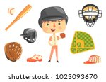 boy baseball player kids future ... | Shutterstock .eps vector #1023093670
