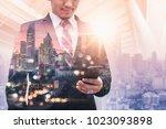 the double exposure image of...   Shutterstock . vector #1023093898