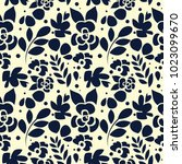 black silhouette spring floral... | Shutterstock .eps vector #1023099670