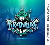 piranhas emblem logo for sports ... | Shutterstock .eps vector #1023102430