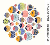 cute fish card. around motif... | Shutterstock .eps vector #1023104479