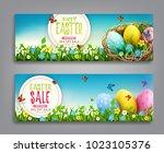 vector set illustration. easter ... | Shutterstock .eps vector #1023105376