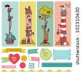 Stock vector scrapbook design elements vintage child set in vector 102310630