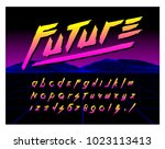 80's retro futurism style font. ... | Shutterstock .eps vector #1023113413