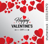 happy valentine's day card with ... | Shutterstock .eps vector #1023119470