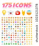 set of 175 realistic cute icons ... | Shutterstock .eps vector #1023121378