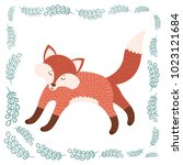 cute fox. isolated icon on... | Shutterstock .eps vector #1023121684