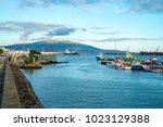 city harbor view at ponta... | Shutterstock . vector #1023129388