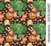 seamless pattern boy smile...   Shutterstock .eps vector #1023136060