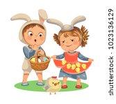 little girl smile holding in... | Shutterstock . vector #1023136129