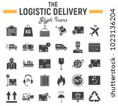 logistic glyph icon set ... | Shutterstock .eps vector #1023136204