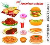 illustration set of american... | Shutterstock . vector #1023141898