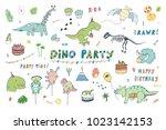 dinosaur party birthday... | Shutterstock .eps vector #1023142153