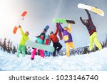 ski concept with group of six... | Shutterstock . vector #1023146740