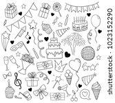 big set of hand drawn doodle... | Shutterstock .eps vector #1023152290