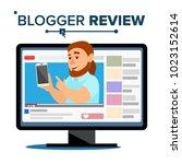 blogger review concept. popular ... | Shutterstock . vector #1023152614