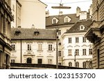 beautiful old facade   vienne... | Shutterstock . vector #1023153700